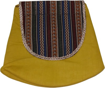Hand to Hearts Women Casual Yellow, Multicolor Cotton Sling Bag