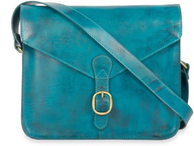 Calligraphy Women Casual Blue Genuine Leather Sling Bag