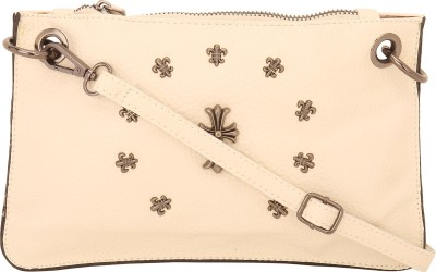Naitik Products Women Casual Beige Leatherette Sling Bag