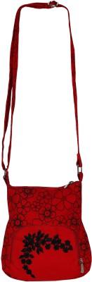 BAG FACTORY Women Red Canvas Sling Bag