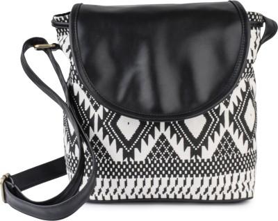 Lychee Bags Women Black, White Canvas Sling Bag