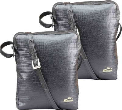 Panther Girls, Women Black Genuine Leather Sling Bag