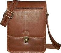 Kan Men & Women Brown Genuine Leather Messenger Bag