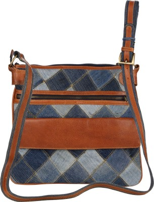 Hibiscus Women Casual Orange Genuine Leather, Denim Sling Bag