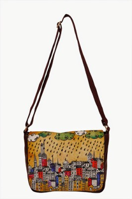 Carry on Bags Women Casual Brown Canvas, PU Sling Bag