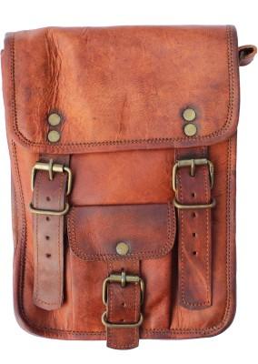 Craftbazaar Boys Brown Genuine Leather Sling Bag