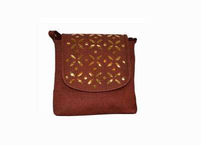 Vedic Deals Girls, Women Brown Canvas Sling Bag