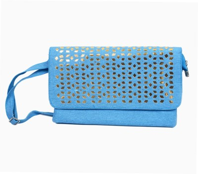 lasslee Women Blue PU Sling Bag