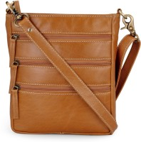 The House of Tara Men & Women Tan Genuine Leather Messenger Bag