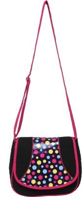Anekaant Women Casual Black, Pink Cotton, PU Sling Bag