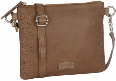 JUSTANNED Women Tan Genuine Leather Sling Bag