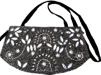 Beadworks Women Evening/Party Black, Grey Silk, Beads Sling Bag