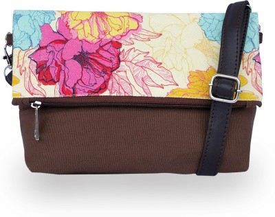 Lemon Trunk Women, Girls Multicolor, Beige Canvas, PU Sling Bag