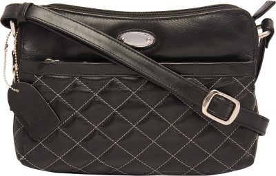 Supreme Leather Women Casual Black Genuine Leather Sling Bag