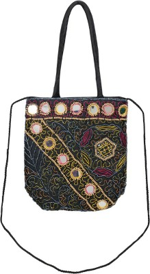 VERMELLO Girls, Women Casual, Evening/Party Black Silk Sling Bag