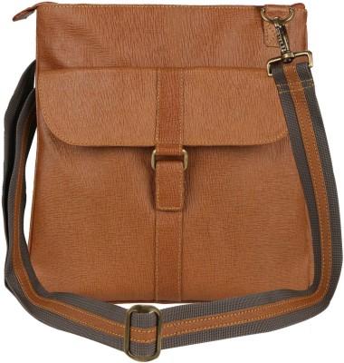 Hibiscus Women Casual Orange Genuine Leather Sling Bag
