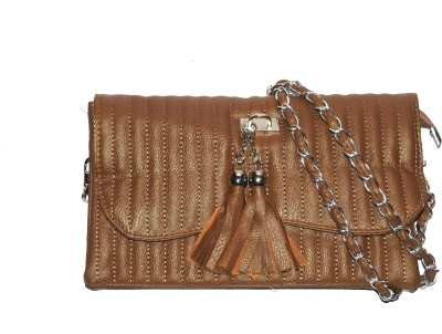 ShopperzGuide Girls, Women Brown Leatherette Sling Bag