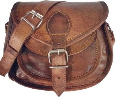 Reyu Girls Brown Genuine Leather Sling Bag
