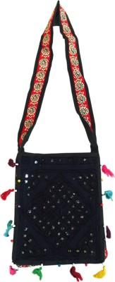 Old School Ethnic Girls, Women Blue Cotton Sling Bag