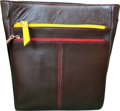 Style 98 Women Brown Genuine Leather Sling Bag