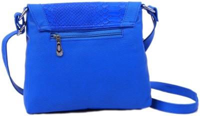 Q & K Women Blue Leatherette Sling Bag