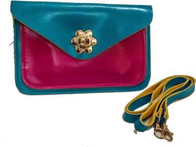 Bagzmania Women, Girls Evening/Party, Festive, Formal, Casual Blue, Pink Leatherette Sling Bag