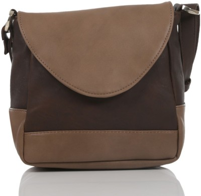 Ebry Girls Beige, Brown Genuine Leather Sling Bag