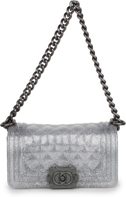 Amatra Girls, Women Silver Silicon Sling Bag