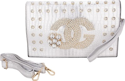 Aliza Women Evening/Party Silver PU Sling Bag