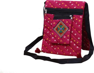 SAANKHYA Girls, Women Pink Cotton Sling Bag