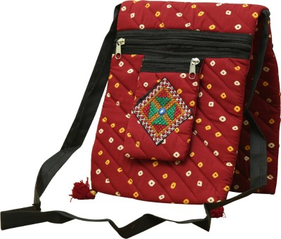 SAANKHYA Girls, Women Maroon Cotton Sling Bag
