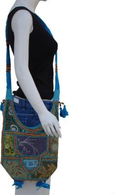 The Living Craft Women Blue Cotton Sling Bag