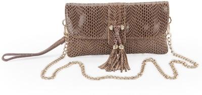 FT Women Formal Brown Genuine Leather Sling Bag
