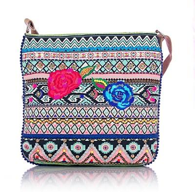Shaun Design Women, Girls Multicolor Cotton Sling Bag