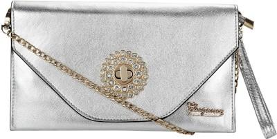 Eleegance Women Festive Silver PU Sling Bag