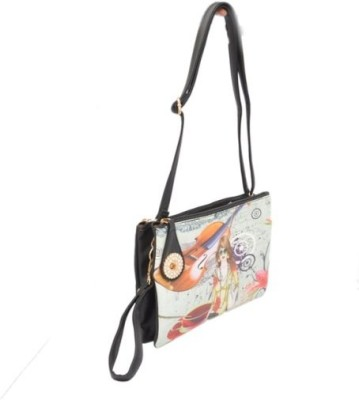 Shopaholic Fashion Girls Black PU Sling Bag