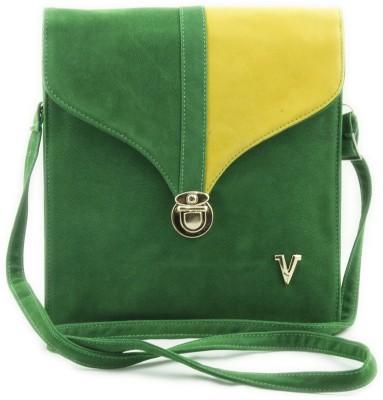 Voaka Girls, Women Green, Yellow Leatherette Sling Bag