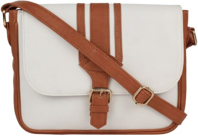 Berrypeckers Women White PU Sling Bag
