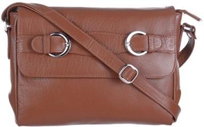 EUPHORIA Girls Tan Genuine Leather, Nylon Sling Bag