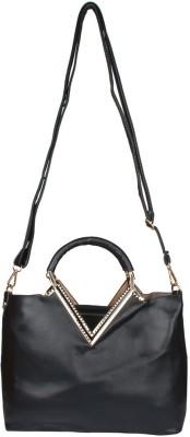 Fiza Women Black Leatherette Shoulder Bag