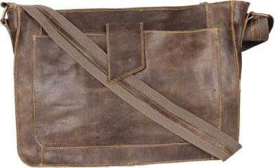 Hibiscus Men, Women, Boys, Girls Casual Brown Genuine Leather Sling Bag