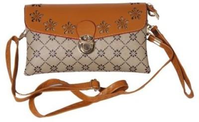 Kuero Women Tan Leatherette, Nylon Sling Bag
