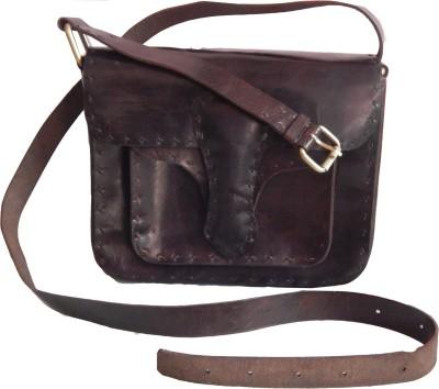 Shiny Collection Boys, Men, Girls, Women Black Genuine Leather Sling Bag