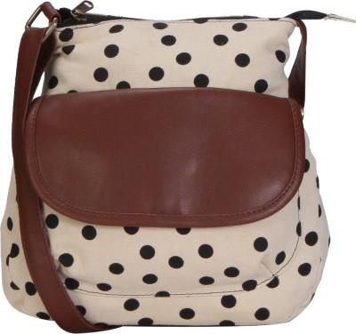 Lychee Bags Women Beige, Black Canvas Sling Bag