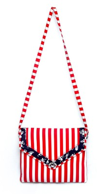 Allmine Girls Casual Red, White Cotton Sling Bag