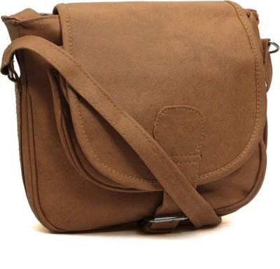 Pochette Girls, Women Beige PU Sling Bag