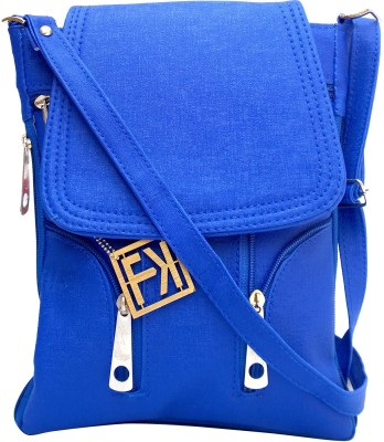Fashion Knockout Girls, Women Blue Leatherette Sling Bag