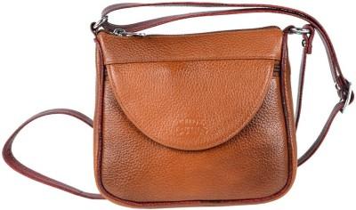 Hide Bulls Men, Women Tan Leatherette Sling Bag