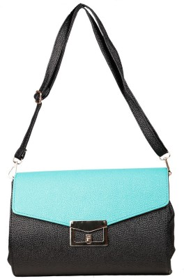 Just Women Women Casual Blue, Black Leatherette Sling Bag