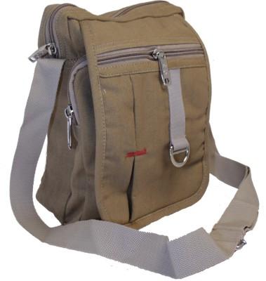 American-Elm Men Casual Brown Cotton Sling Bag